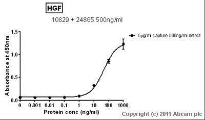 Sandwich ELISA - Anti-HGF antibody [EGH2 4C12.1] (ab10829)