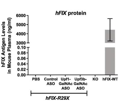 Mouse plasma hFIX protein levels as measure by ELISA
