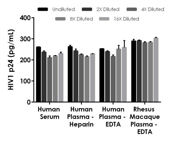 Interpolated concentrations of spike HIV1 p24 in human serum, human plasmas, and rhesus macaque plasma
