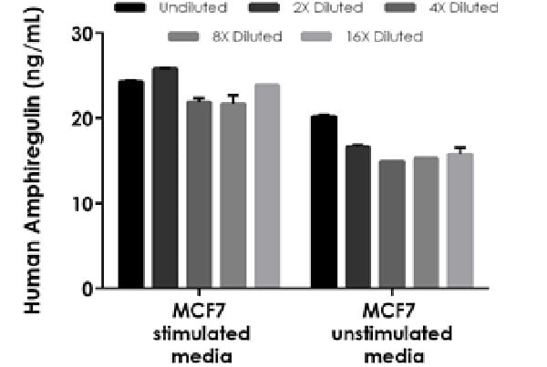 Interpolated concentrations of native Amphiregulin in human MCF7 cell culture supernatant.