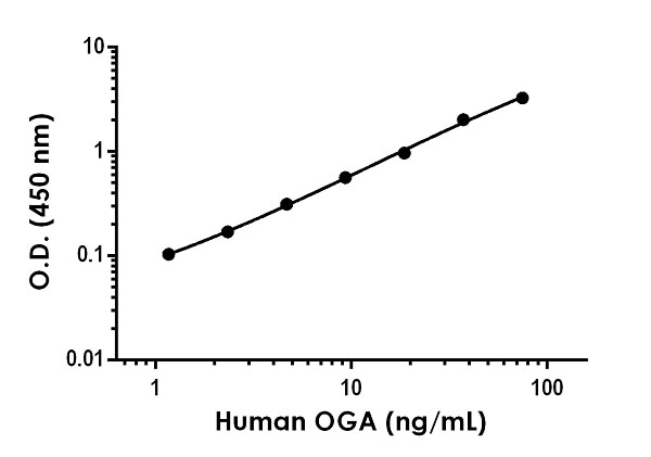 Example of human OGA standard curve in Sample Diluent 1X Cell Extraction Buffer PTR.