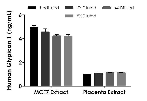 Interpolated concentrations of native Glypican 1 in human MCF7 extract based on a 500 µg/mL and placenta extract based on a 1,000 µg/mL extract load.
