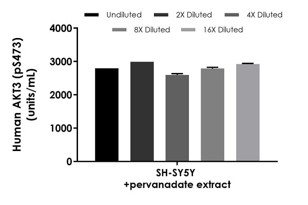 Interpolated concentrations of native AKT3 (pS473) in human SH-SY5Y +pervanadate extract 500 µg/mL extract load.