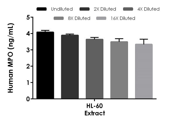 Interpolated concentrations of native MPO in human HL-60 cell culture extract based on a 12.5 µg/mL extract load.