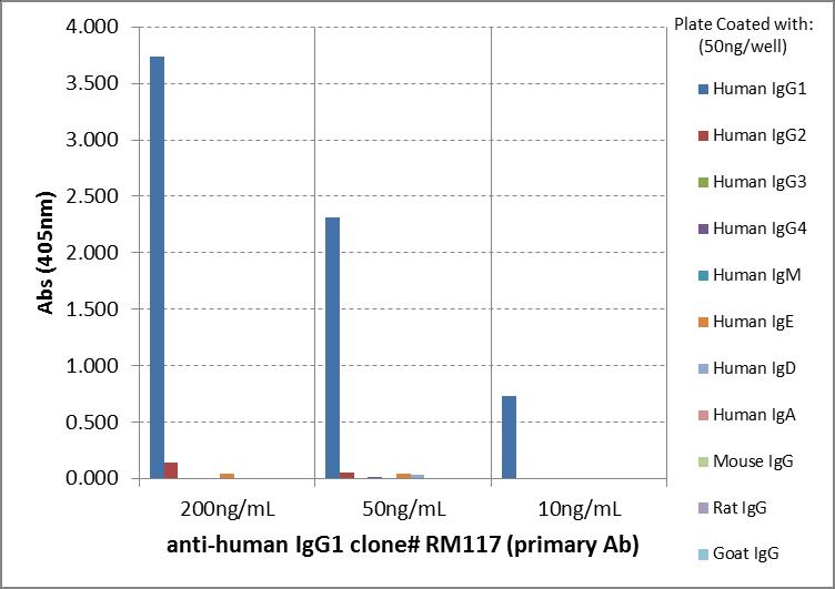 ELISA - Rabbit monoclonal RM117 Anti-Human IgG1 heavy chain (Biotin) (ab272183)